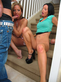 Brunette and blonde both with hot shaved pussies share a handsome guy on the stairs