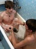 Two gays drinking while taking bath together then hardly fucking and sucking nut