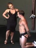 Horny femdom spanking her sub's tight butt