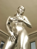 You will like this silver skinned bimbo that looks much more like a statue