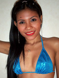 Spicy Filipino coed in shiny blue bikini spreads legs when topless then peels of