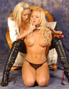 Long haired stacked blond bombshell Frankie strips out of her sexy lingerie