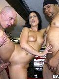 A hot team of three sexy bimbos try sucking and fucking cocks and eat cum of two sports guys