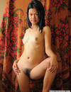 Cute faced asian gets completely nude and spreads her legs to show her hairy beaver