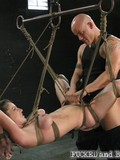 Rope bound stacked slave girl gets her loose pussy banged by brutal master
