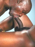 Black bodybuilders suck each others strong rock stiff gay cocks at the gym