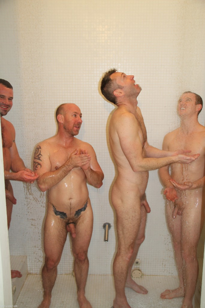 Gay matures shower