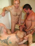 Mature gay guys pose naked under the shower and drill each others holes