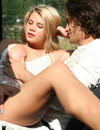 Silky haired blonde with lovely legs seduces dark haired man in cabriolet