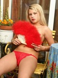 Sweet Vicky taking red lingerie off