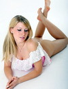 Long haired teenage german chick does some modelling in nice pink and  white dress