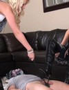 Obedient man gets his cock tortured on the floor by crazy domme in high heel boots