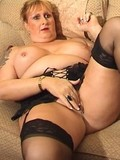 Fat elderly chick in black stockings gets her well experienced trimmed pussy mun