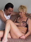 Blonde granny beads her old pussy on stiff cock and gets cum shot on shaggy tits