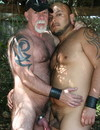Two middle aged horny gay bears  pose naked, suck and fuck in the shadow