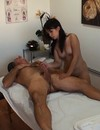 Exotic chick strips naked and rides on top of cock after nice cock massage