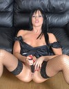 Naughty maid Lolly Badcock with jet black hair toys her bald pussy with her unif