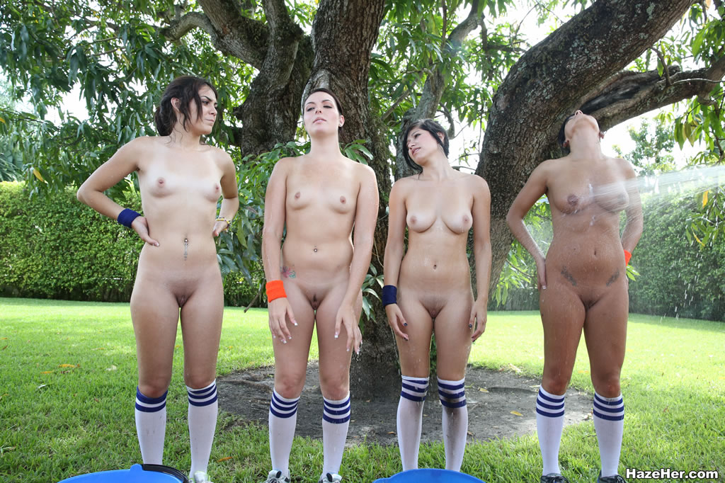 sporty girls with natural tits and shaved snatches get