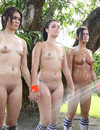 Sporty girls with natural tits and shaved snatches get showered outdoors