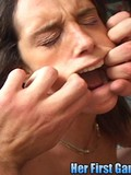 Brunette bitch gets fucked in all holes at once then swallows liters of sperm