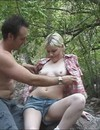 White haired amateur chick takes off her jean short in the forest to be fucked