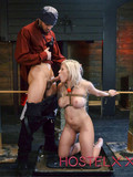 Hot body blonde babe with big fake boobs gets tricked into bondage sex