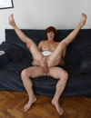 Slutty mature redhead bares it all then rides cock in her shaved wet cunt