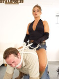 Obedient man plays the role of pony for two dominating ladies that ride and train him