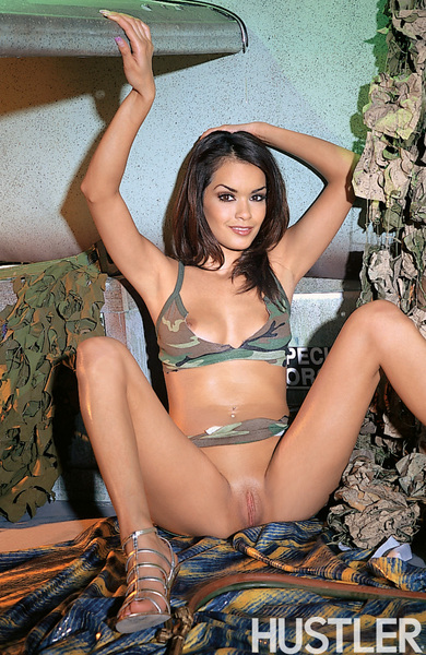 Leggy porn diva in military top and skirt exposes her sexy ...