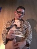 Nerdy straight guy Alex Gonz gets his big balls and hard meat stick out to jerk