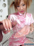 Playful japanese chick in silk pink dress milks overloaded cock with her soft hand