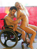 Sexy bodied white-haired latina rides hard dick of lucky guy on a wheel chair