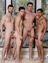 Four guys get together for hot gay orgy with double penetration and massive cumshots