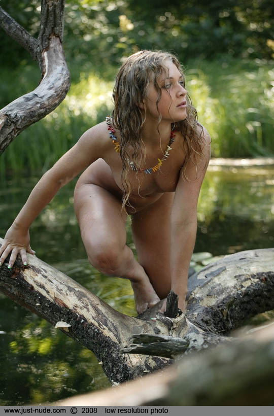 Nude Wild Girl With Wet Curly Hair Poses On A Broken Tree