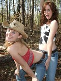 Two chicks stripping in the woods