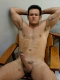 Muscle latin guy Igor poses in his bare skin after he pulls off his red briefs