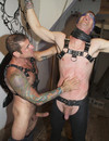 Nasty and horny gay guys have fun at the party and perform half strip action