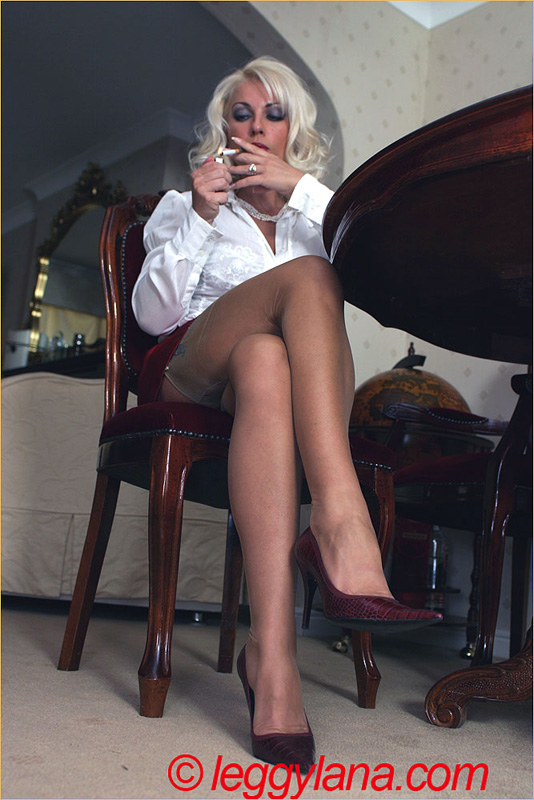Smoking in pantyhose blonde leggy