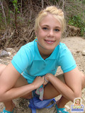 Cute teen goldilocks Summer strips her t-shirt outdoors flashing her tiny tits