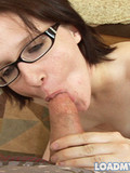 Spectacled brunette gets naked before she gives headjob and swallows sperm
