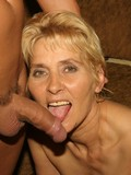 Short haired blonde granny with slim body has sex with hard dicked muscle stud