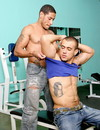 Strong tattooed guys in jeans work out in the gym then dirtily suck dicks and ba