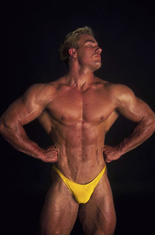 Tough blond stud in all possible poses shows his nervous muscles ready to  fuck