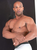 Chocolate stud displaying sexy body