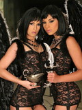Two brunettes in sheer cloths and garter belts finger pussies and fill glasses w