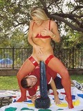 Huge poles stuffing blonde's holes