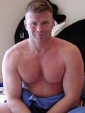 Mature man presenting stiff assets