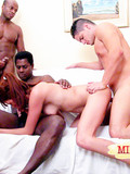 Black and white guy team up and bang sexy bodied redhead milf all together