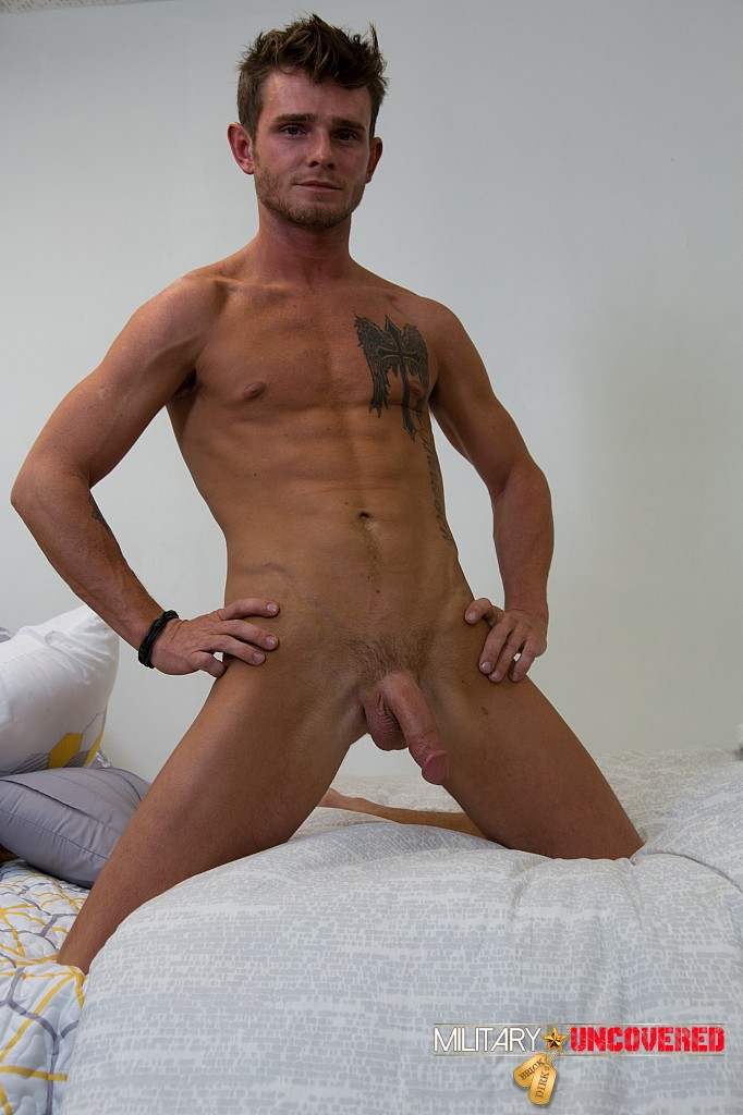 Slim guy jacking off all alone