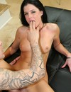 Graceful brunette milf in boots shows her sexy bod and gets her pink pussy boned